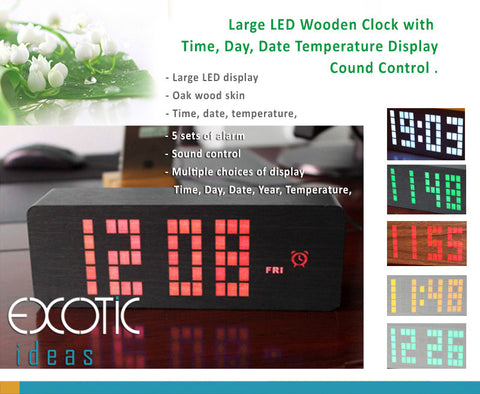Large Matrix LED Wooden Alarm Clock; Time, Week Day, Date, Temperature Display, Sound Control.