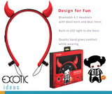Cute Devil horn band dual pairing Bluetooth headsets, headphones with audio hints, CVC 6.0 noise reduction. Also available for Deer horns.