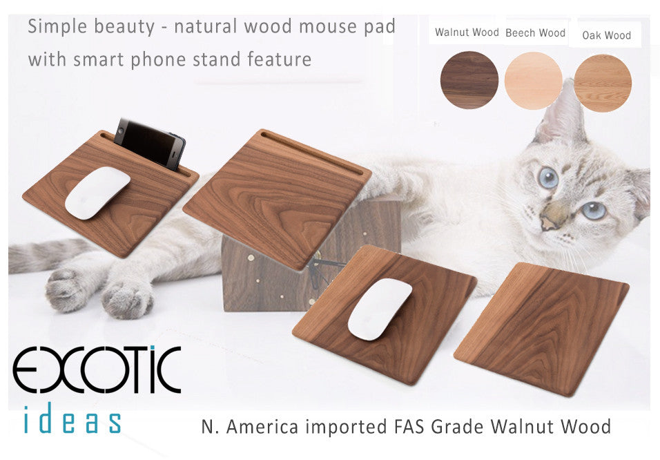 Simple Beauty - Natural Wood Mouse Pad with Smart Phone/ Tablet Stand. Walnut, Oak, Beech Wood