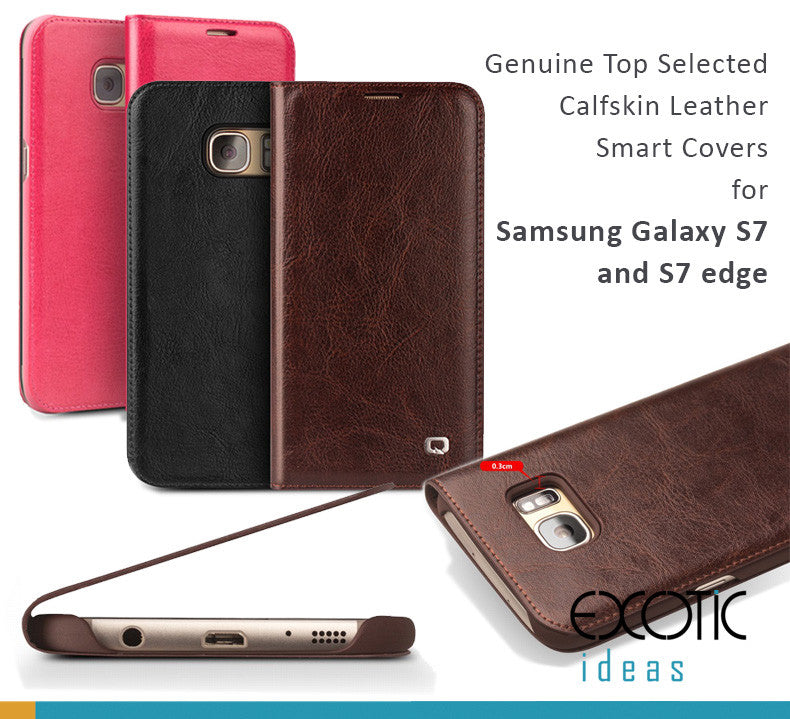 Genuine Top Selected Calfskin Leather Smart Covers for Samsung Galaxy S7 and S7 edge