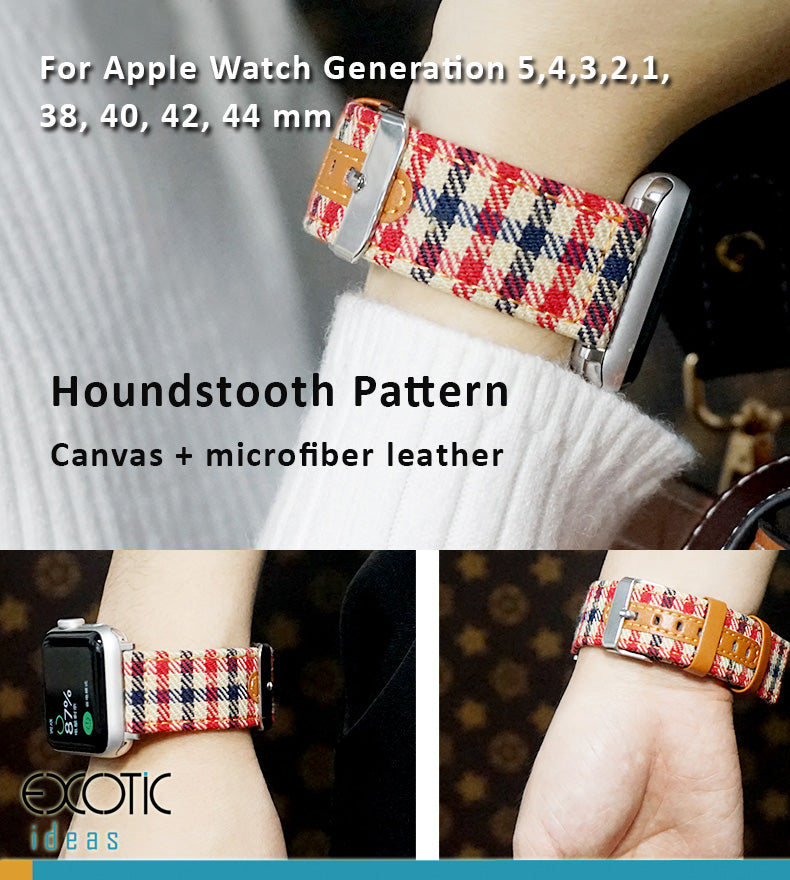 Houndstooth Pattern, Canvas + Microfiber Leather Watch Bands /Straps for Apple Watch 5,4,3,2,1
