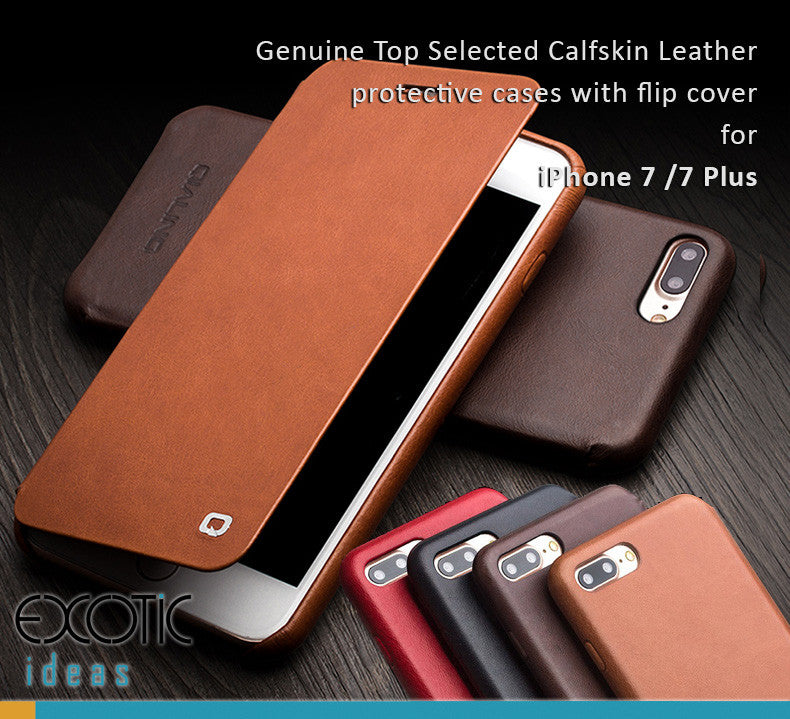 new concept a96c2 36f9f iPhone 7/8 Plus, iPhone 8/8 Plus Genuine Calfskin Leather Case with Flip  Cover -32 processing procedure to create a Masterpiece