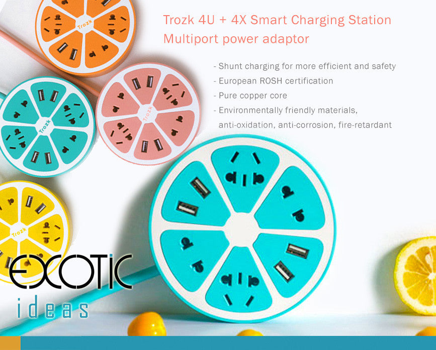 4U + 4X smart charging station , multiport power adapter, shunt charging for more efficiency and safety.
