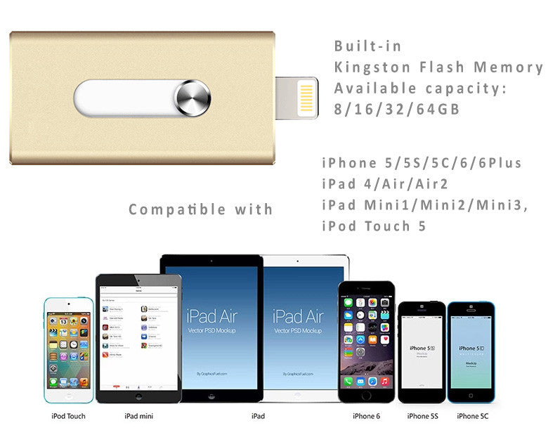 New i-FlashDrive U Disk Storage Memory Stick for  iPhone, iPad– No Jailbreak Kingston 16-64GB