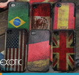 Silicon Rubber Apple iPhone 4 4S Skin Case Cover - Retro Finished Surface with Football Flags Design