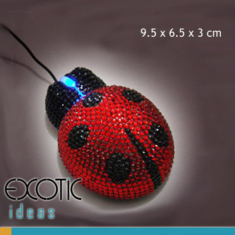 Optical Computer Mouse, Lady Bug Shape with Crystal Rhinestone Set