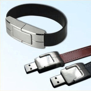 8GB, USB Flash Memory Drive, Black Leather Bracelet
