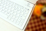 Bluetooth Wireless Silicone Keyboard Dock, Leather Cover Case for iPad 2 and The new iPad / iPad4 - White