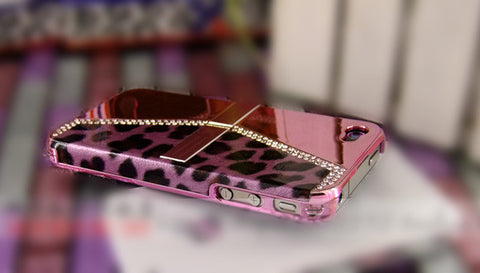 Fine Crystal Rhinestone + Leather Apple iPhone 4 4S Skin Case Cover -Purse Style - Pink