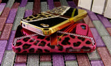 Fine Crystal Rhinestone + Leather Apple iPhone 4 4S Skin Case Cover -Purse Style - Rose Pink