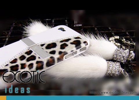 Fine Crystal Rhinestone + Leather Apple iPhone 4 4S Skin Case Cover -Purse Style - White