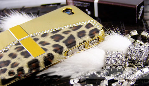 Fine Crystal Rhinestone + Leather Apple iPhone 4 4S Skin Case Cover -Purse Style - Gold