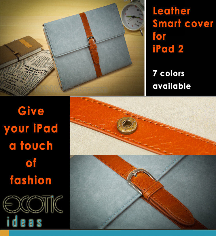 iPad 2 / The new iPad / iPad 4 Leather Sleeve Bag Case Cover with Leather Stripe and Brass Buckle, Auto Sleep Feature