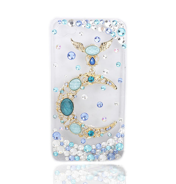 3D Fine Crystal Rhinestone Apple iPhone 5, 4S, 4 Skin Case Cover - Moon and Stars