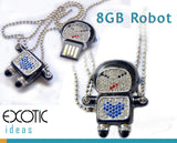 8GB USB Flash Memory Stick, Astronaut  Robot with Crystal Set (Black)