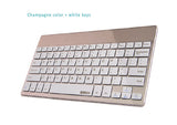 Champagne Color Bluetooth Ultra Thin (4mm) Keyboard for Apple iOS, Windows OS, Android OS