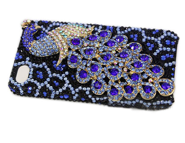 Fine Crystal Rhinestone 3D Apple iPhone 4S / 4 Skin Case Cover - Peacock - Blue