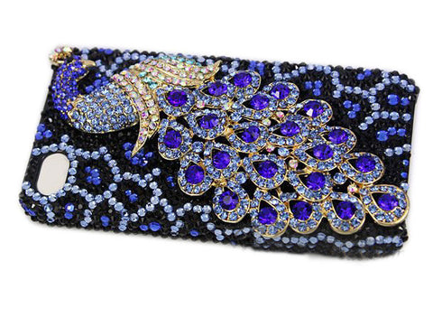 Fine Crystal Rhinestone 3D Apple iPhone 5, 5S, 5C Skin Case Cover - Peacock - Blue
