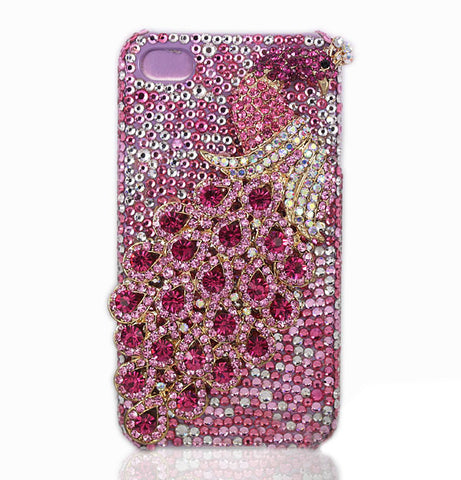 Fine Crystal Rhinestone 3D Apple iPhone 4 4S Skin Case Cover - Peacock - Pink