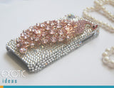 3D Fine Crystal Rhinestone Apple iPhone 5, 5S, 5C Skin Case Cover - Big Pink Crystal Peacock  with Clear Crystal Base