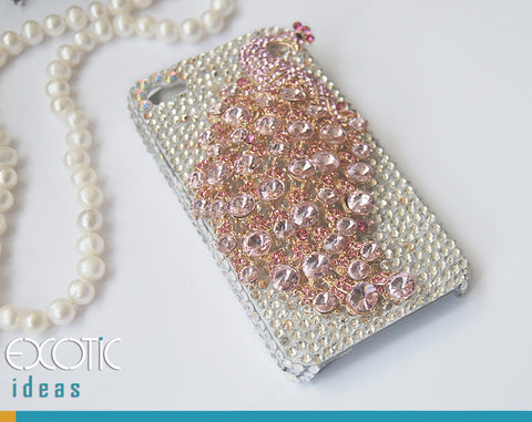 3D Fine Crystal Rhinestone Apple iPhone 4S / iPhone 4 Skin Case Cover - Big Pink Crystal Peacock  with Clear Crystal Base