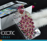 3D Fine Crystal Rhinestone 3D Apple iPhone 4S, iPhone 4 Skin Case Cover - Pink Peacock  with clear case