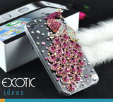 3D Fine Crystal Rhinestone Apple iPhone 5, 5S, 5C Skin Case Cover - Pink Peacock  with clear case
