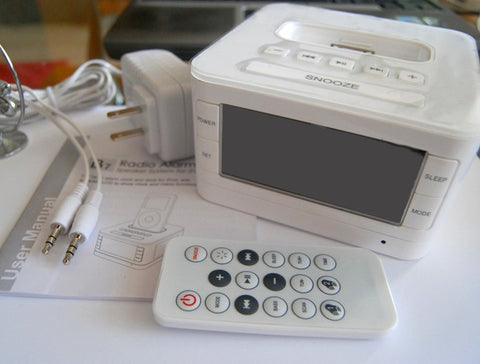LCD FM Radio Alarm Clock/Speaker,  Charger and Dock for  iPhone 4/4S, iPhone 5/5C/5S and iPhone 6,4.7""