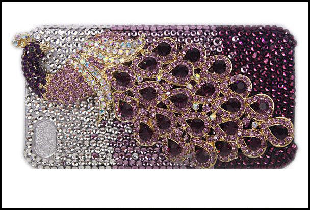 Fine Crystal Rhinestone 3D Apple iPhone 5/5S. 5C, 4/4S Skin Case Cover - Peacock - Purple Crystal and Silver Ring