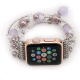Jewellery Agate Beads + Stainless Steel Bracelet Watch Band for Apple Watch 5,4,3,2,1, 38, 40, 42, 44mm -  Purple Version