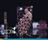 3D Fine Crystal Rhinestone Apple iPhone 5, iPhone 4S, 4 Skin Case Cover - Purple Peacock  with Purple Leopard Texture