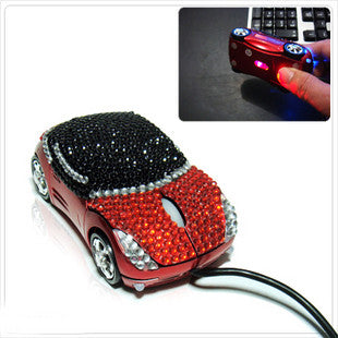Optical Computer Mouse, Car Shape with Crystal Rhinestone Set