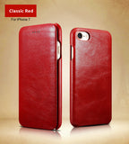 iCarer Retro Classic Genuine Calfskin Leather Cases with Cover for iPhone 8/8 Plus, 7 / 7 Plus,