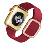 Genuine Leather Watch Band for Apple Watch 38mm, 40mm, 42mm, 44mm. Loop Strap, Stainless Magnetic Buckle -Red