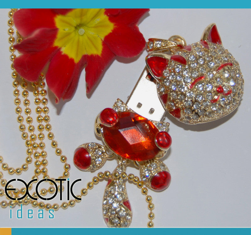 8GB USB Flash Memory Stick, Red Crystal Cat