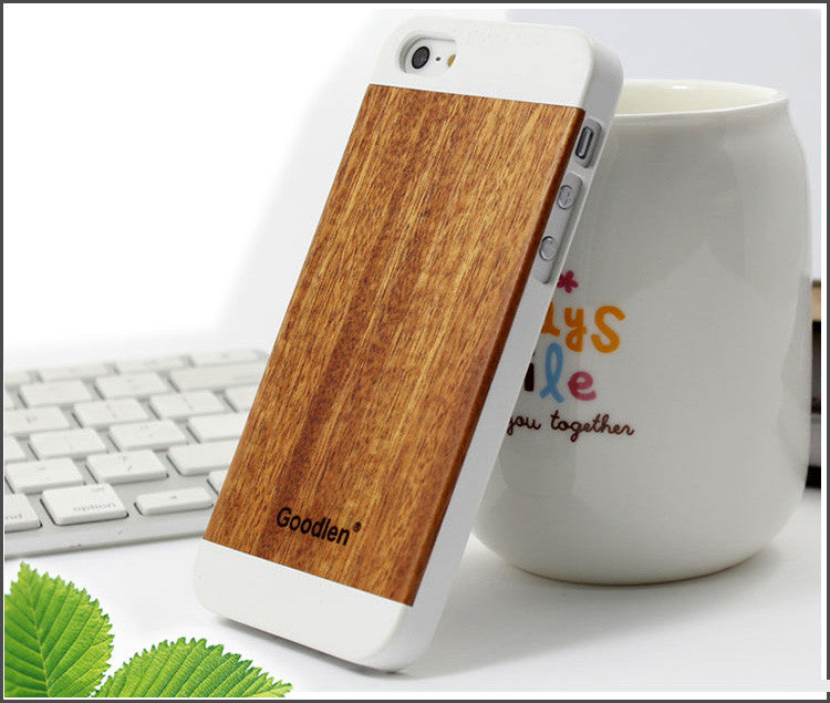 Wooden Case Skin for iPhone 5, 5S - Red Sandalwood + PC Frame - Wear resistance, Anti-cracking