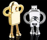 8GB,  USB Flash Memory Drive, Metallic Robot, Gold