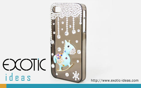 Apple iPhone 5, 4S, 4 Skin Case Cover - 3D Rocking Horse and Stars with Fine Crystal Rhinestone  - Blue