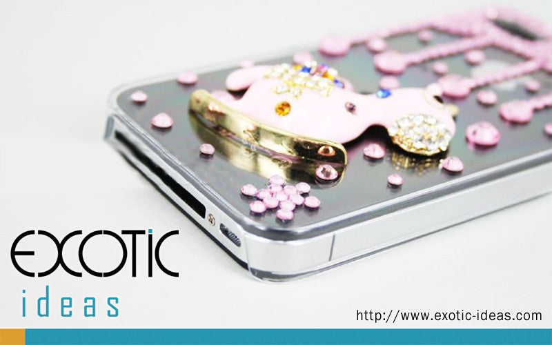Apple iPhone 5, 4S, 4 Skin Case Cover - 3D Rocking Horse and Stars with Fine Crystal Rhinestone  - Pink