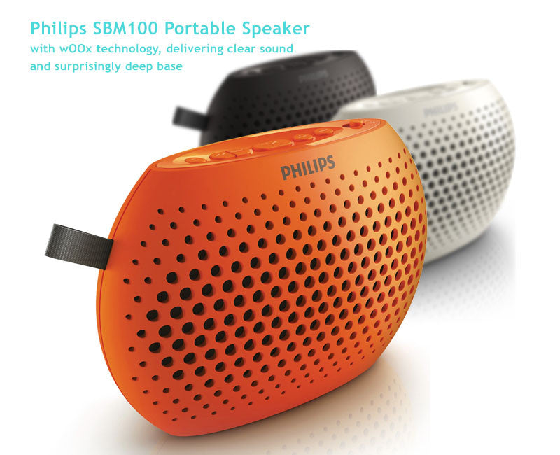 Philips SBM100 MP3 Player, FM, Philips wOOx sound tech surround sound speaker with powerful bass effect