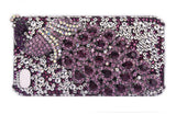 3D Fine Crystal Rhinestone Apple iPhone 5. 5S, 5C,  iPhone 4S, iPhone 4 Skin Case Cover - Purple Peacock with Silver and Purple Crystal