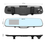 "4.3"" 1080P HD Car Camera DVR Tachograph Camera Recorder with Blue  Rear View Mirror"