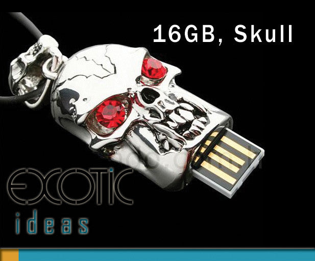 16GB USB Flash Memory Stick, Silver Skull with Red Crystal Eyes