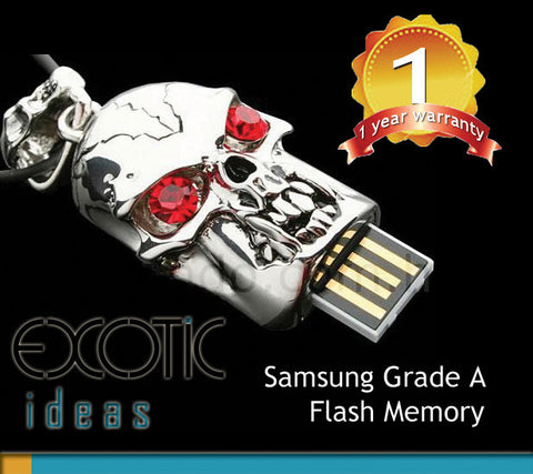 32GB USB Flash Memory Stick, Silver Skull with Red Crystal Eyes