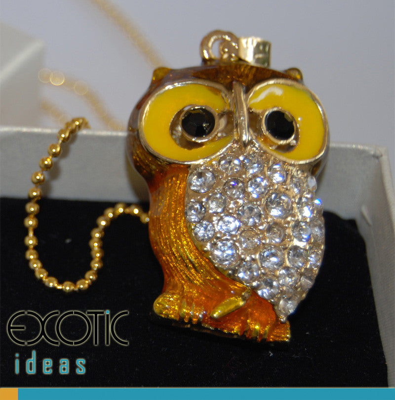 32GB USB Flash Memory Stick, Little Owl Shape with Enamel and Gold Coating