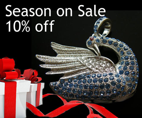 16GB USB Flash Memory Stick, Blue Crystal Silver Swan