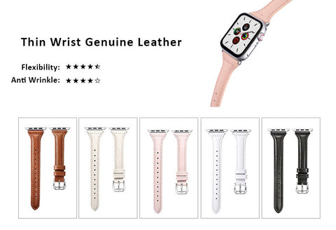 Genuine Leather Watch Bands For Apple Watch Generation 5,4,3,2,1, 38, 40, 42, 44 mm -  Thin Wrist Design