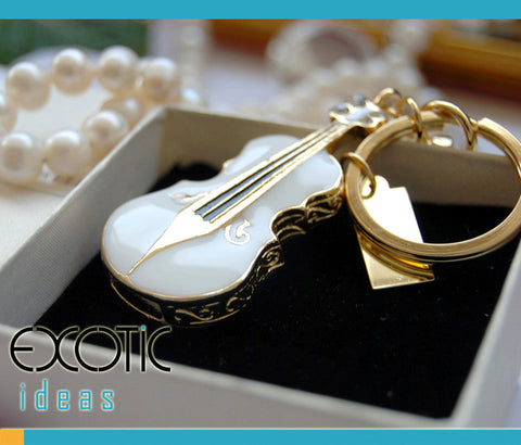 32GB USB Flash Memory Stick, Violin Shape with Enamel, Gold Coating and crystal Set