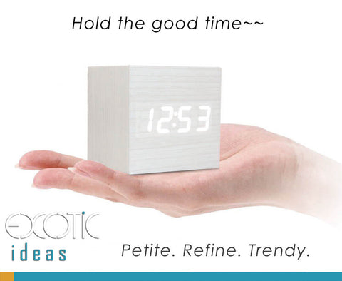 Mini Cube Oak Wood Skin Wooden Alarm Clock White LED Display,  Time, Temperature, Sound Control