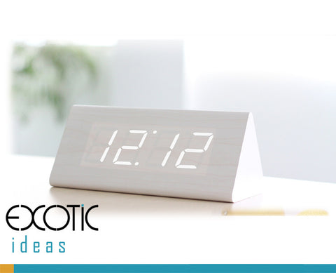 Triangular White Oak Wooden Alarm Clock White LED Display, Time,Date,Temperature,Sound Control